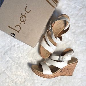 Women's Size Nine B.O.C. Cork heel white heels